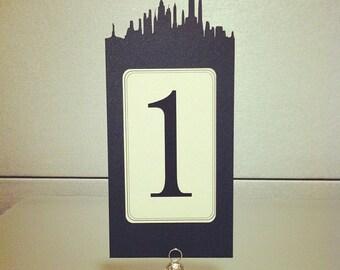 "NYC Skyline Wedding Table Numbers - 8.5"" H - set of 10"