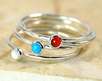 Sterling Silver Stacking Rings, 5 Rings, Turquoise Moonstone Carnelian, Size Made to Order, 3 mm Cabochons