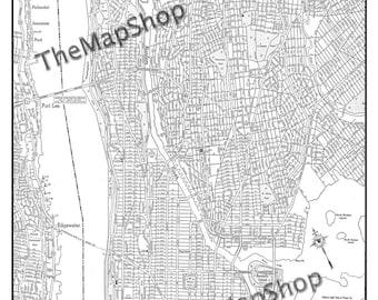 New York City Map Manhattan Street Map Vintage Print Poster