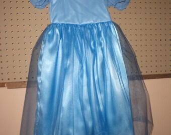 Blue Gown, Play Time, Dress Up, Cinderella, Princess, Toddler & Girls Sizes 2 to 8, Washable