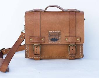 Small Handmade Full Grain Leather Messenger Satchel