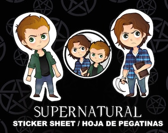Supernatural Fanart STICKER Sheet - Sam & Dean Winchester stickers - stickers