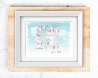 Proverbs 31:26 on World Map | Nursery Wall Art printable 8x10 and 5x7