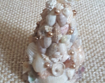 Handmade Shell Encrusted Christmas Tree  OOAK   Beach Decor Real Starfish painted with Gold Glitter Gold Czech Glass Pearls