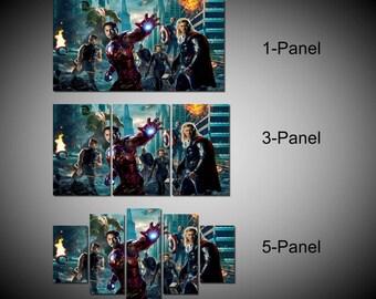 Framed Marvel Avengers Super Hero, Captain America, Iron Man, Hulk, Thor, Hawkeye Wall Canvas Art - Ready to Hang