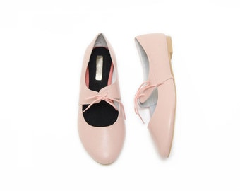 Peach leather Ballet Flats - Wide Fit