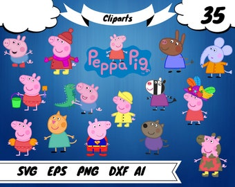 35 Peppa Pig clipart,peppa pig svg, peppa pig vector,peppa pig print,peppa pig party,peppa pig birthday, peppa invitation,peppa pig shirt