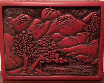 Antique, Authentic Deep-Red Cinnabar Cigarette/Trinket/Jewelry Box