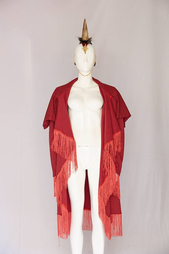occasion Man Gala with Wear Warm Red Special events Festival Unisex Stunning cape Coat Fashion fringe Jacket winter gorgeous High Burning qA8Z4