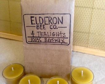 4 Beeswax Tealights // Handmade // Natural // Long-burning // Air-purifier