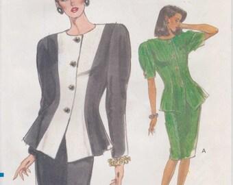 Jacket Pattern Shoulder Pad Skirt Big Shoulders 1989 Very Easy Uncut Size 6 - 10 Vogue 7613