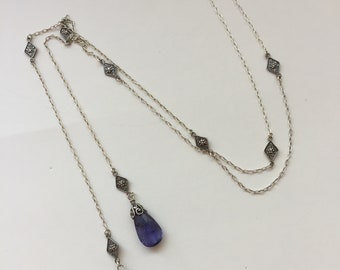 Iolite Briolette Lariat Necklace in Sterling Silver