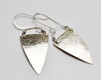 Sterling Silver Triangular Earrings