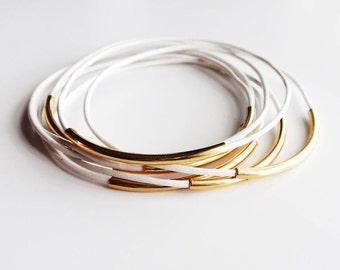 White Leather Bangle Bracelet, Leather Bracelets for Women, Gold Tube, Leather Jewelry, Gold Bangle, White Leather, Bohemian Jewelry, Boho