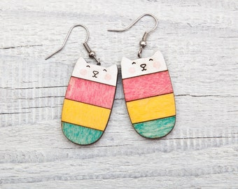 Wood cat earrings, Candy earrings, Colorful cat, Nickel free dangling jewellery, drop earrings, Cats jewelry Gifts for Her, Cat Lover Gift