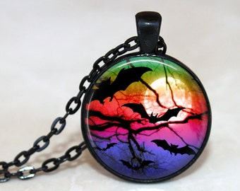 Rainbow Bats Pendant, Necklace or Key Chain - Choice of 4 Bezel Colors - 1 Inch Round - Halloween Pendant