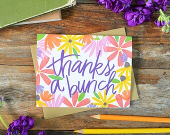 Thanks a bunch, Watercolor wildflowers, Thank you card, Floral, Garden, Spring, Notecards, Greeting Card, colorful, bright, many thanks