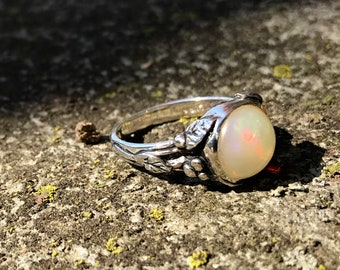 Opal and Sterling Woodland Vine Ring