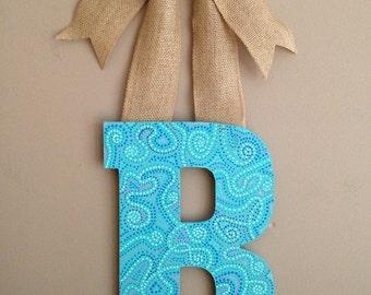 Hand Painted Monogram Letter-Monogram Letter-Letter Door Hanger-Painted Letter-Letter for Wall-Monogram Letter Wreath-Nursery Letters