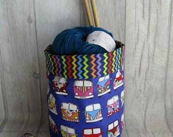 Camper Van Drawstring Knitting Project Bag, Crochet Project Bag, Reversible, knitting, crochet, weaving, embroidery, craft projects, dice
