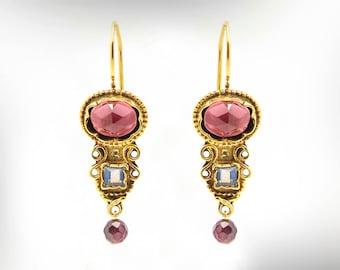 January Birthstone, Garnet Earrings, Birthstone Dangle Earrings, Art Deco Earrings For Her, Gift Gemstone Earrings, Mom Gift, Free Shipping