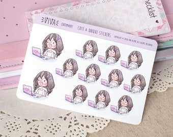 Kawaii Girl Decorative Stickers: Working/using the computer or laptop ~Violet~ For your Life Planner, Diary, Journal, Scrapbook...