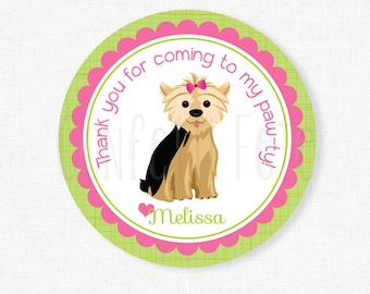 Puppy Party Favor Tags, Dog Birthday Favors, Yorkie Party Tags, Girl Birthday Favor Tags, Pink and Green Personalized