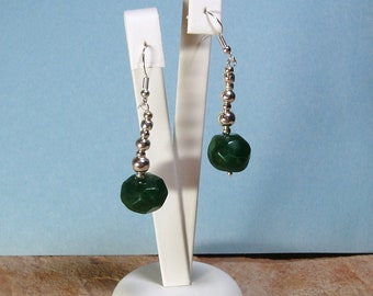 Large 15mm Genuine Earth Mined 47.00 Carats of Rich Green Zambian Faceted Emerald, 925 Silver Earrings