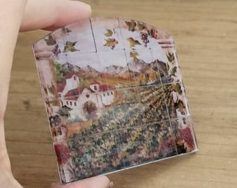Kitchen backsplash tiles for miniature dollhouse kitchen made from acrylic 1:12 scale winery scene