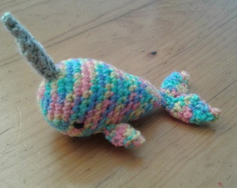 Rainbow Pastel Amigurumi Crochet Narwhal Soft Toy