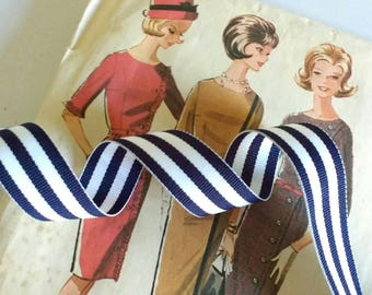 """Navy Blue and White Striped Ribbon, Striped Nautical Ribbon 7/8"""" inch Grosgrain"""