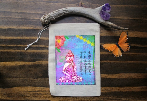 Buddha Muslin Bags - Art Bag - Pouch - Gift Bag - 5x7 bag - Crystal Pouch - Party Favor - Packaging