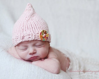 Soft Baby Hat, Baby Pixie Hat, Infant Photo Prop Hat, Baby Photo Prop Pixie Hat with Button, 3-6 Months, Pink - Ready to Ship