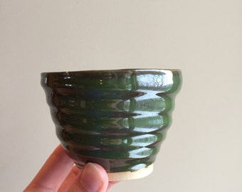 Forest Green Small Handmade Pottery Cup