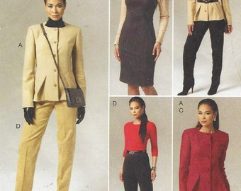 Womens Jacket, Dress, Skirt and Pants OOP Vogue Sewing Pattern V8758 Size 6 8 10 12 Bust 30 1/2 to 34 UnCut Vogue Wardrobe Pattern