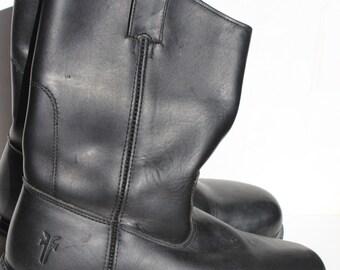 Vintage Frye Cowboy Boots Size 8 1/2 D Mens Biker Boot Roper Steel Toe Black Label