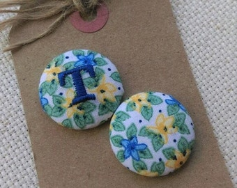 Needle Minder, Blue, Yellow,Floral,Monogram, 2 Piece Reversible Scout and Remy, Personalized, Initial, For Cross Stitch, Sewing, Embroidery
