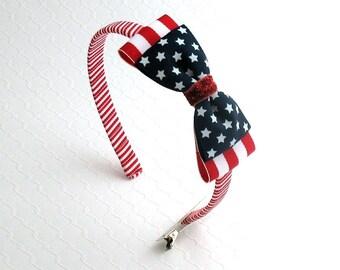 4th of July Headband, Girls Headband, Toddler Headband, Patriotic Headband, Red White and Blue Glitter Bow Headband, 4th of July Hair Bow,