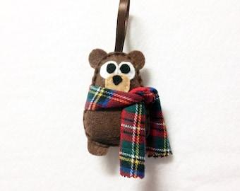 Bear Ornament, Felt Christmas Ornament - Willis the Baby Brown Bear with a Plaid Scarf
