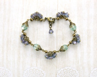 Sage and Lavender Jewelry - Czech Glass Vintage Style Purple and Green Wedding Whimsical Flower Bracelet - Brass Jewelry - Bridesmaids Gifts