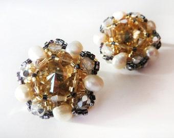 Swarovski Crystal Stud Earrings / Pearl June Birthstone Earrings / Opulent Jewellery / Anniversary gift for wife / Wedding Jewellery for her