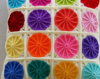 the colorful polkadot crochet granny square cushion cover / pillow cover