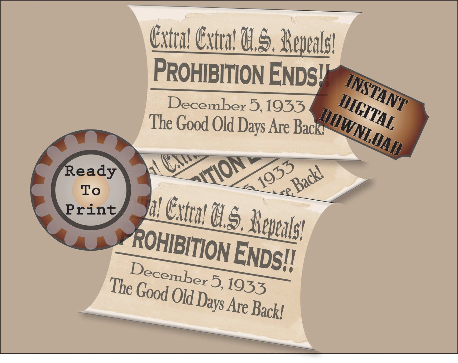 Repeal Pillow Box Printable Prohibition Ends Party Wedding Favor Box ...