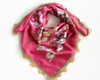 Floral Muslin Scarf, Boho Bandana Turban Printed Cranberry Pink, Tatting Lace Trim, Cheesecloth Bohemian, Authentic OOAK Gift for Her