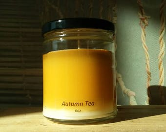 Autumn Tea - Soy Candle - Hand Poured Scented Natural Soy Wax - available sizes, 6 oz and 11 oz - Handmade in Baltimore MD