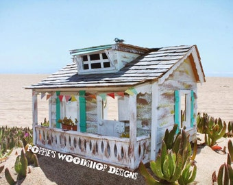 Furnished Petite Surf Shack Doll House in 1/2TH Scale, NOT A KIT