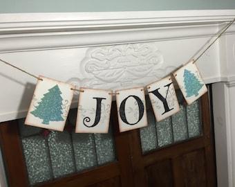 Joy Banner, Christmas Banner, Christmas Photo Prop, Mantle Decoration, Rustic Banner