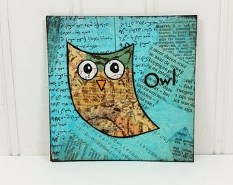 Whimsical Owl on Blue Torn Paper Painting, Quirky Bird 4 x 4 Miniature Art