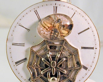Steampunk Art Deco Watch Dial Pendant with Moth & Spider Web OOAK