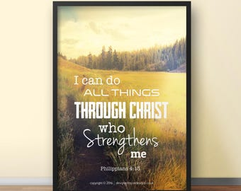 NEW Philippians 4:13 A4 Christian Poster - Glossy